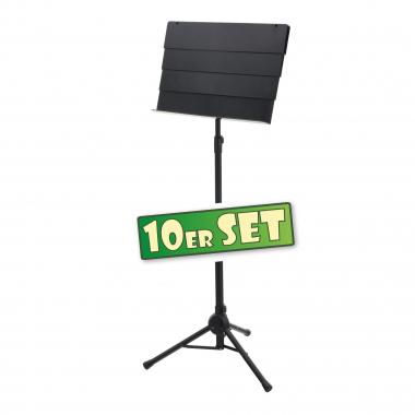 10er SET Classic Cantabile SM-100 Pupitre Télescopique d'Orchestre Noir