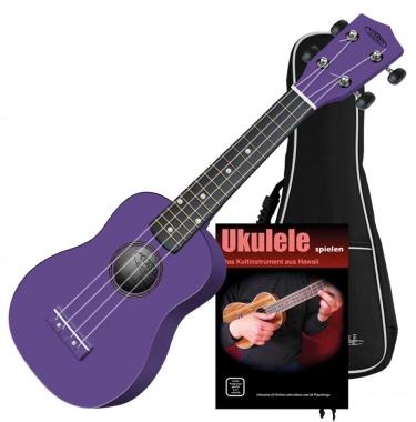 Classic Cantabile US-100 VT Sopran-Ukulele violett Set inkl. Tasche + Lernheft