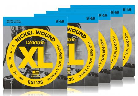 D'Addario EXL125 Super Light Top/Regular Bottom - 5er Pack