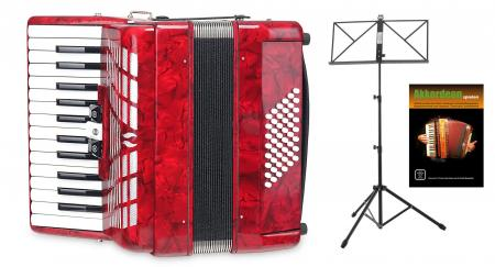 "Classic Cantabile 48-bass accordion """"Secondo III"""" red SET incl. Music stand"