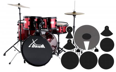 "XDrum Rookie 20"" Studio Drum Red  plus damper set"