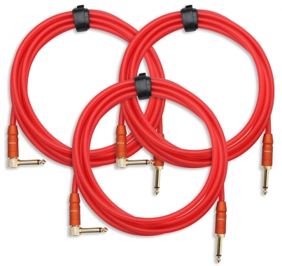 3x SET Pronomic Trendline INST-3R câble à instrument 3m rouge