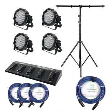 Showlite FLP-144 set de 4 x + controlador pie (FootController) + tripode + cable, 4 focos