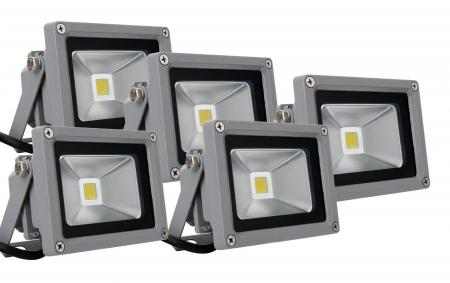 Showlite FL-2010 LED Projecteurs IP65 10 Watt 1100 Lumen lot de 5