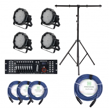Showlite FLP-144 Floodlight 4-piece SET incl. DMX Master Pro USB Controller, Stand and Cable