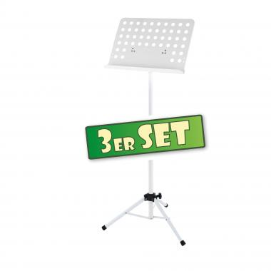 Three-piece set: Classic Cantabile Music Stand, perforated metal, heavy white