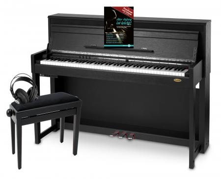 Classic Cantabile UP-1 SM Upright E-Piano Black Matte Deluxe Set