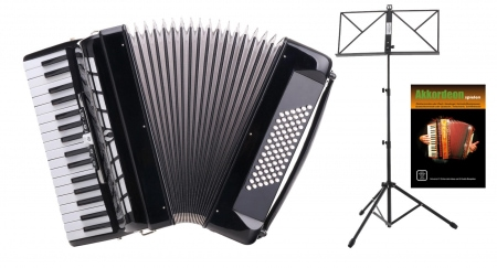 "Classic Cantabile 72-bass accordion """"Secondo III"""" black SET incl. Music stand"