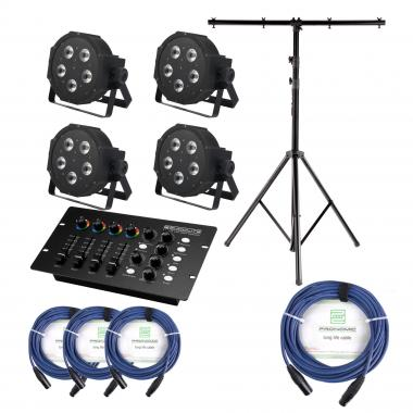 Showlite FLP-5x9W Floodlight 4-piece SET incl. DMX Controller, Stand and Cable