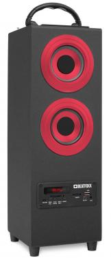 Beatfoxx Beachside+ haut-parleur Bluetooth portable subwoofer USB, SD, AUX, UKW/MW, rouge