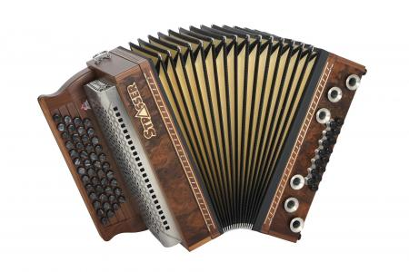 Strasser 4/III Hoamat Harmonika G-C-F-B mit X-Bass, Nuss Maser
