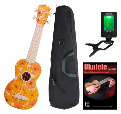 Classic Cantabile BeachBuddy Beachflower ukulele SET y compris l'accordeur