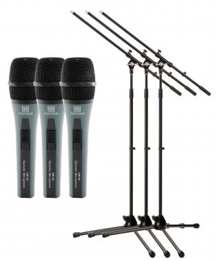 Pronomic DM-59 Microphone + MS-15 Pro Microphone Stand 3x Starter Set
