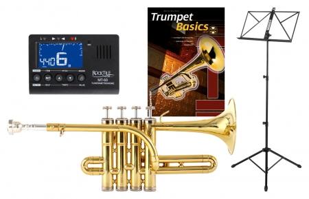 Classic Cantabile PT-196 Bb-Piccolotrompete Set incl. Metronom, Notenständer und Schule