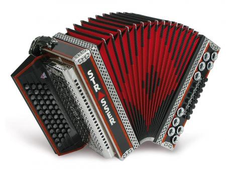 Strasser 4/III De Luxe E Harmonika 4-reihig, 3-chörig F-B-Es-As, mit X-Bass, Schwarz/Rot