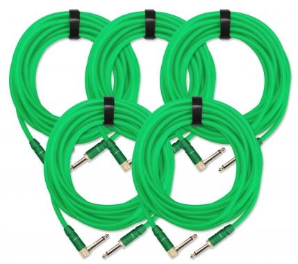 5x SET Pronomic Trendline INST-6NG câble à instrument 6 m vert