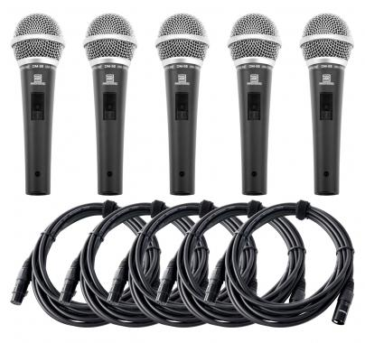 Pronomic DM-58-B set de 5 micrófonos vocal con interruptor set incl. 5x 5m XLR cable