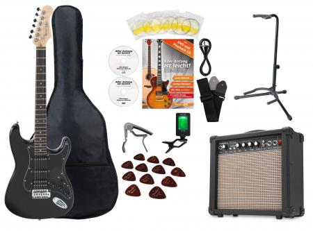 Rocktile Super Kit Electric Guitar Set Black, incl. amplifier, tuner, capo, strap, picks, bag, stand