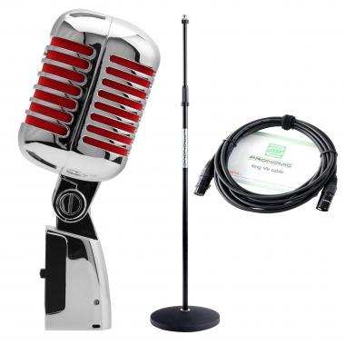 Pronomic DM-66R Elvis microfoon dynamisch rood SET