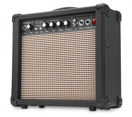 Rocktile Scream 15 Mini Guitar Amplifier Combo Amp (15 Watt Amplifier, 2-channel, portable, AUX-in for MP3 / CD, 3-band EQ, headphone jack)