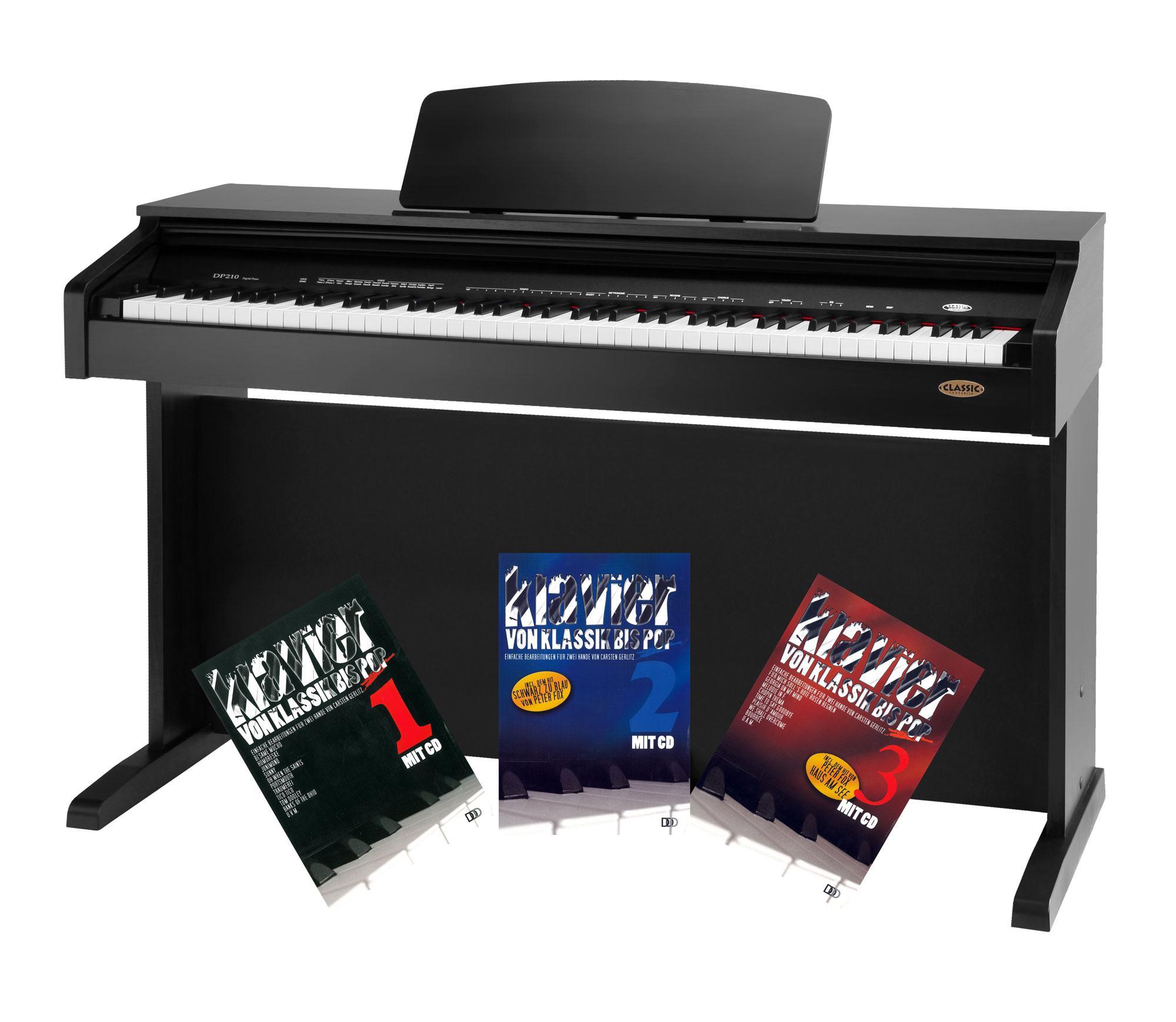 Classic Cantabile DP 210 SM E Piano schwarz matt mit Notenheft
