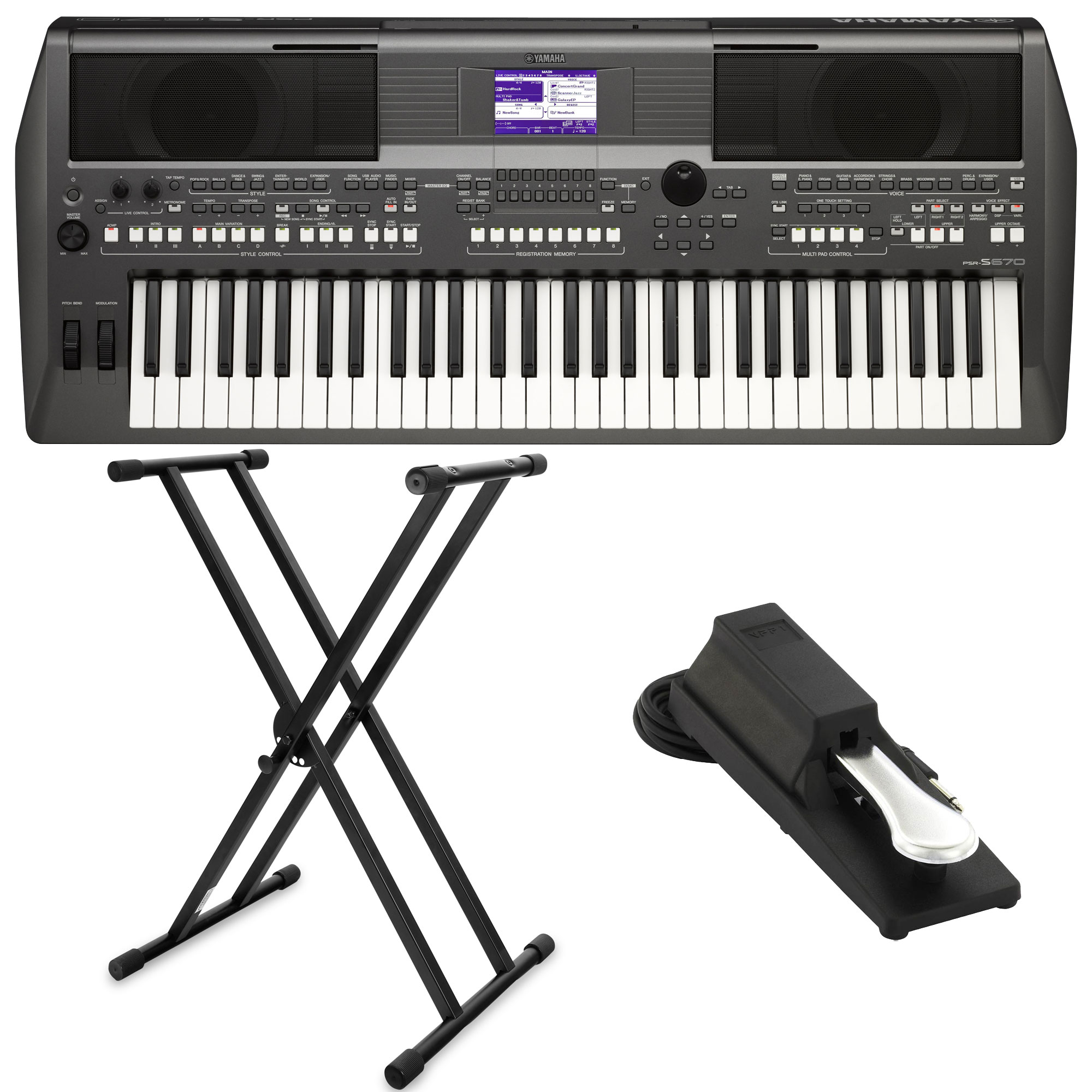 yamaha psr s670 keyboard set st nder pedal kirstein music shop. Black Bedroom Furniture Sets. Home Design Ideas
