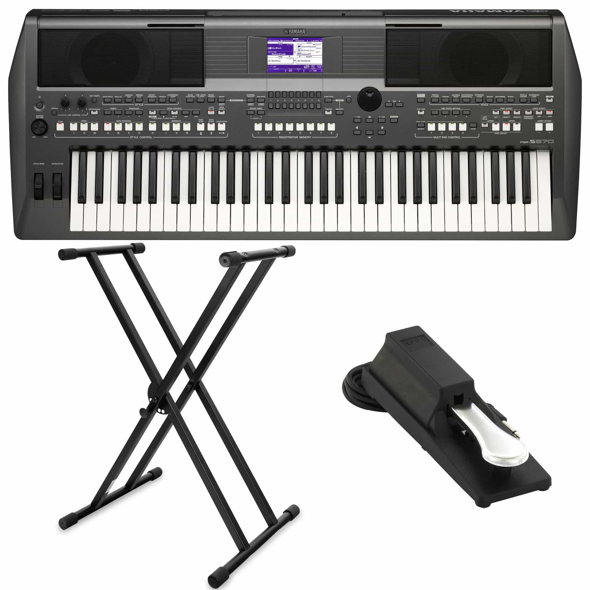 Yamaha PSR S670 Keyboard SET inkl. Keyboardständer Pedal