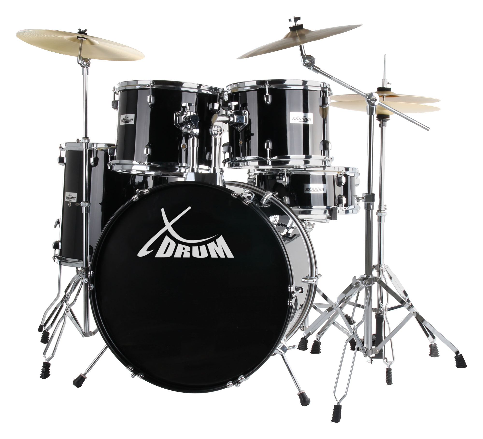 XDrum Semi 20' Studio Schlagzeug Schwarz SET inkl. Galgenständer Crash Becken