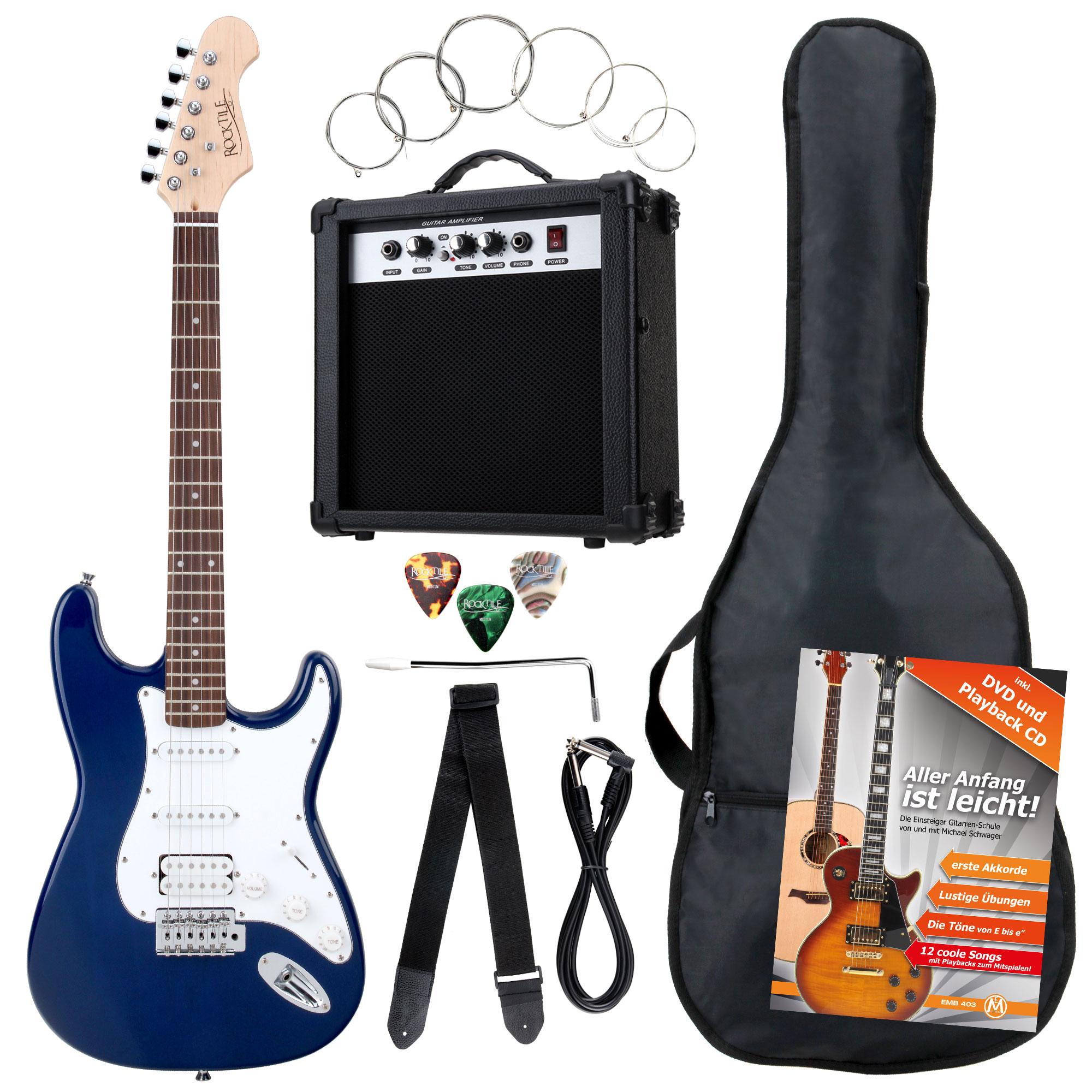 Rocktile Banger's Power Pack E Gitarren Set, 8 teilig Blue