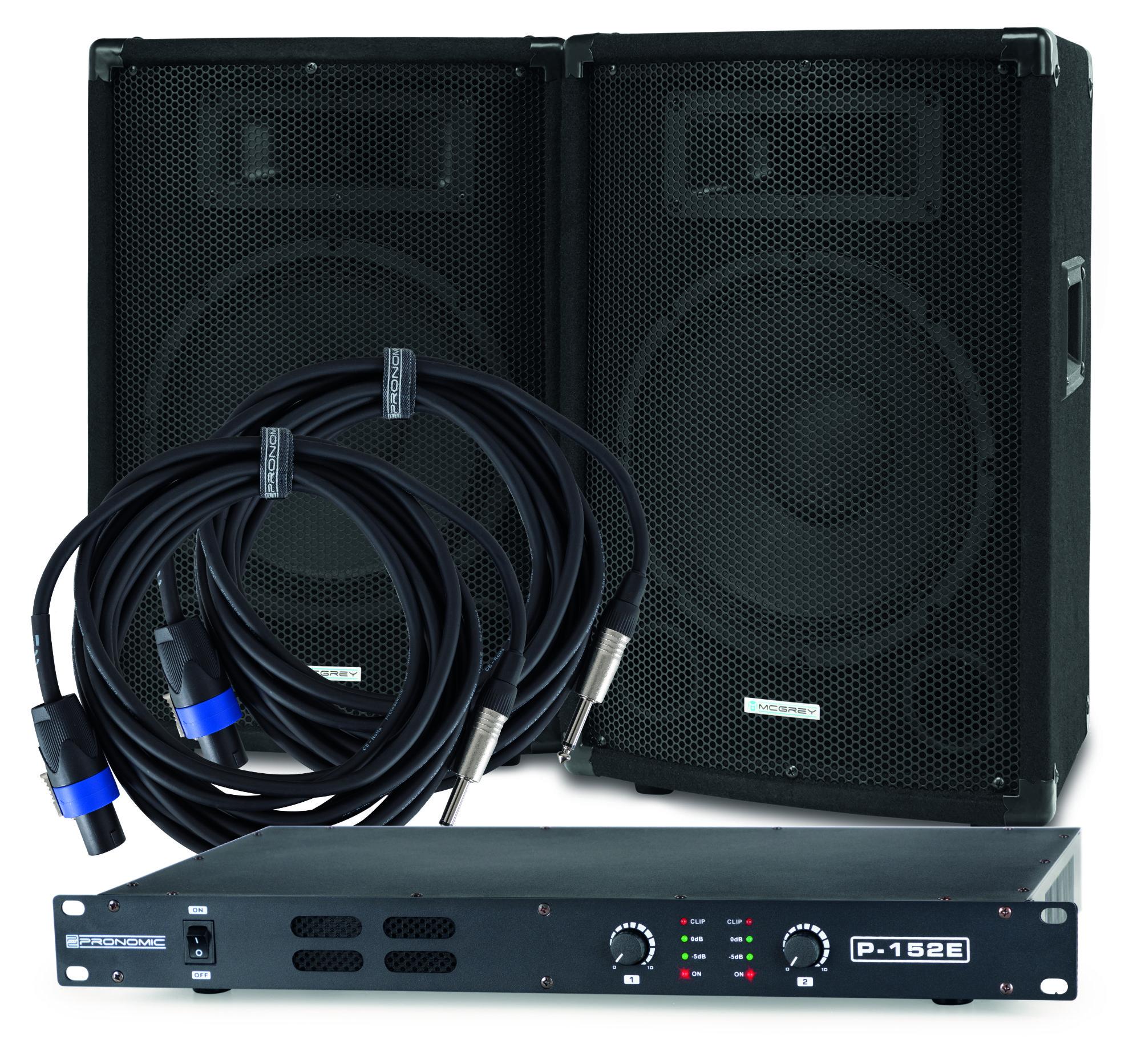 McGrey PA Set DJ 01, 2x TP 10 Box, 1x P152 E Endstufe, 2x BOXJ1 5 Kabel, 200W RMS