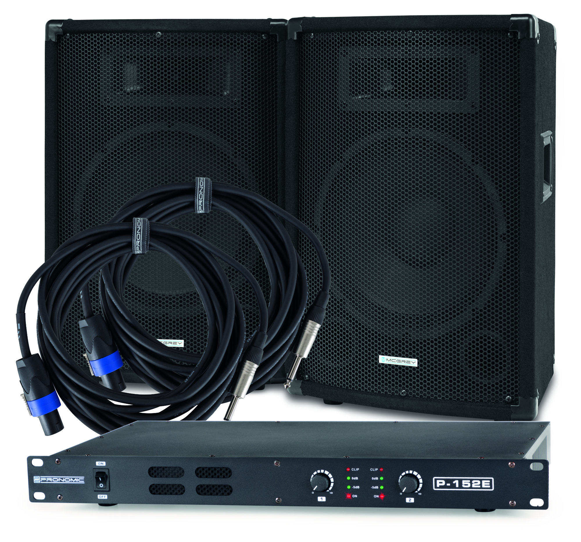 Djkomplettanlagen - McGrey PA Set DJ 01, 2x 10' Box, 1x Endstufe, 2x Kabel, 200W RMS - Onlineshop Musikhaus Kirstein