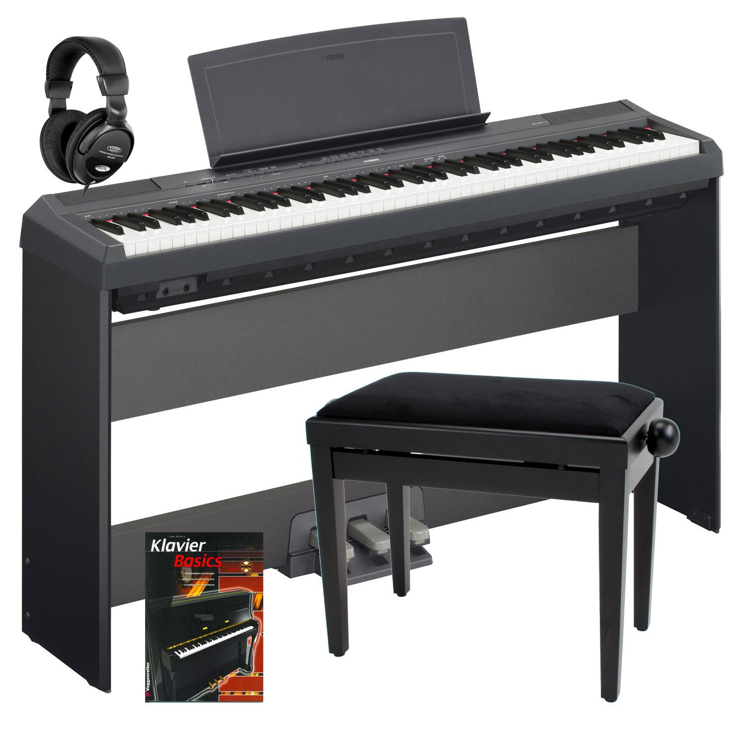yamaha p 115b stage piano black komplett set inkl st nder. Black Bedroom Furniture Sets. Home Design Ideas