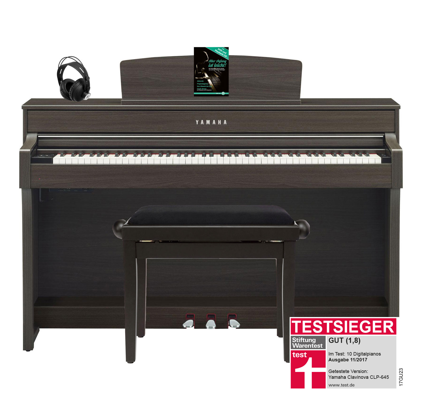 Yamaha CLP 645 DW Digitalpiano Walnuss SET mit Kopfhörer, Bank, Schule