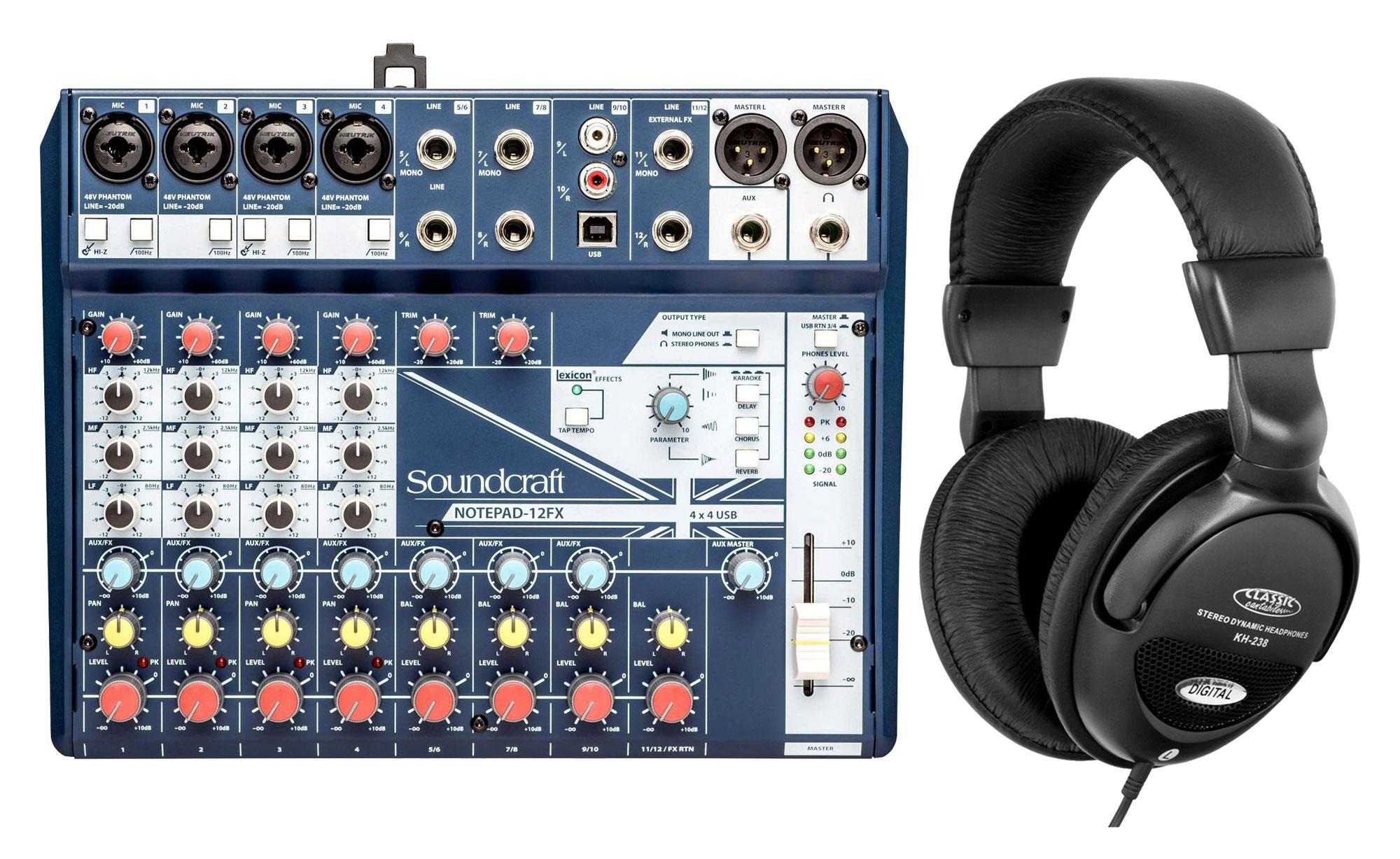Mischpulte - Soundcraft Notepad 12FX Kompaktmischpult Set inkl. Kopfhörer - Onlineshop Musikhaus Kirstein