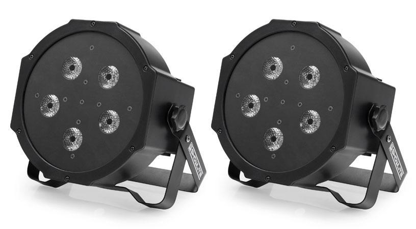 2 x Showlite FLP 5x10W Flat Panel Scheinwerfer Set