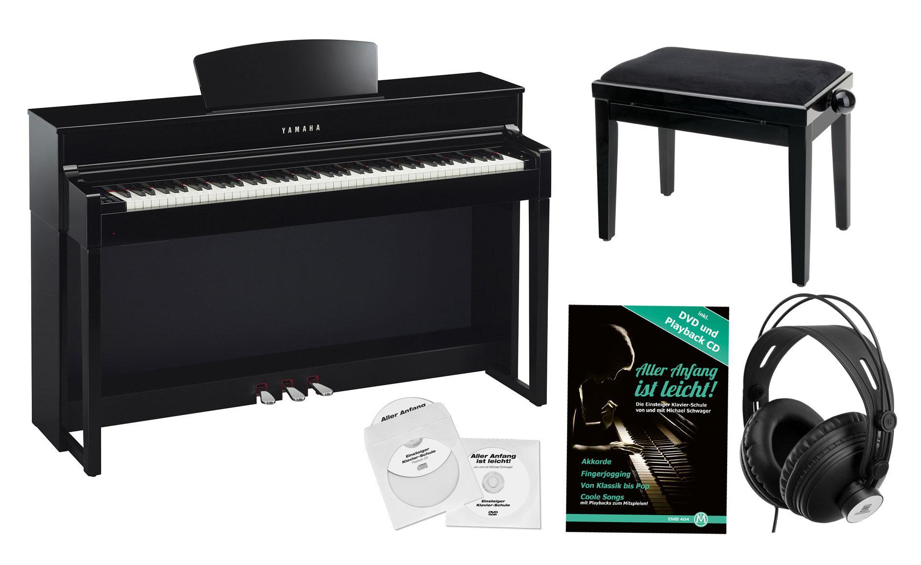 Yamaha clp 535 pe digitalpiano schwarz hochglanz set for Yamaha digital piano clp 535