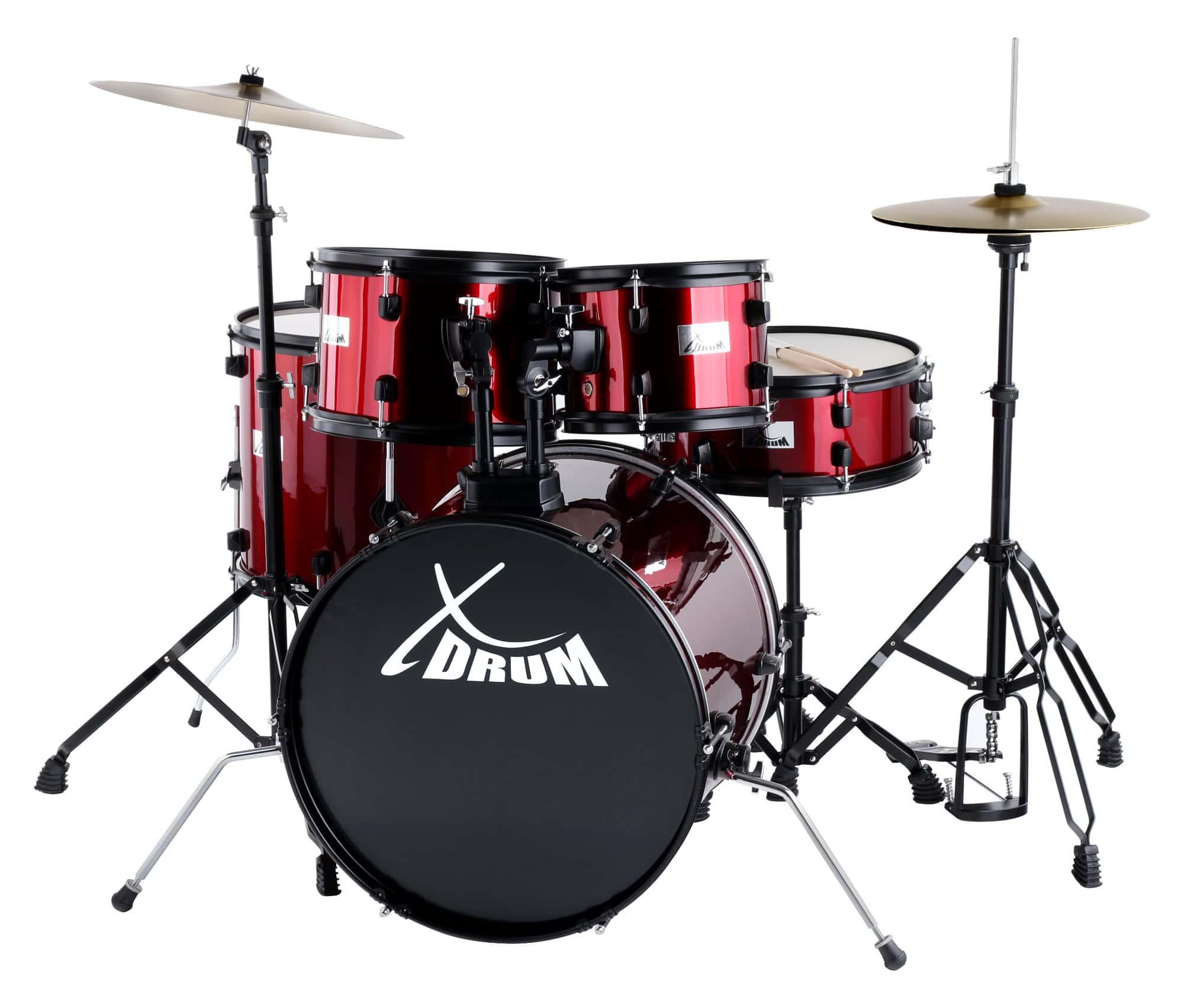 XDrum Rookie 20' Studio Schlagzeug Komplettset Ruby Red inkl. Schule DVD
