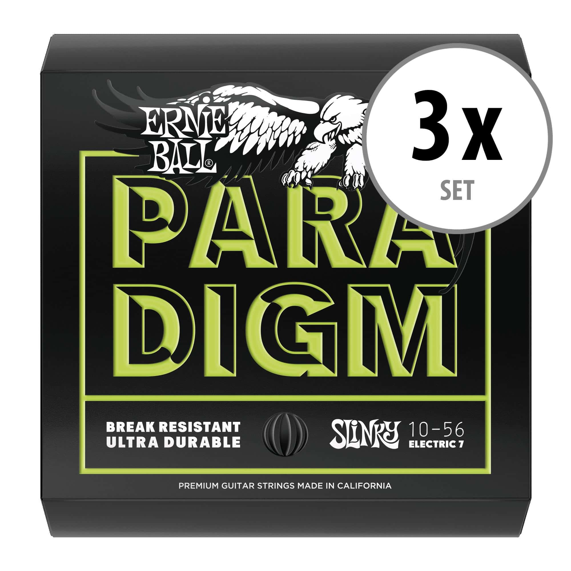 3er Set Ernie Ball 2028 Paradigm Regular Slinky 7 String