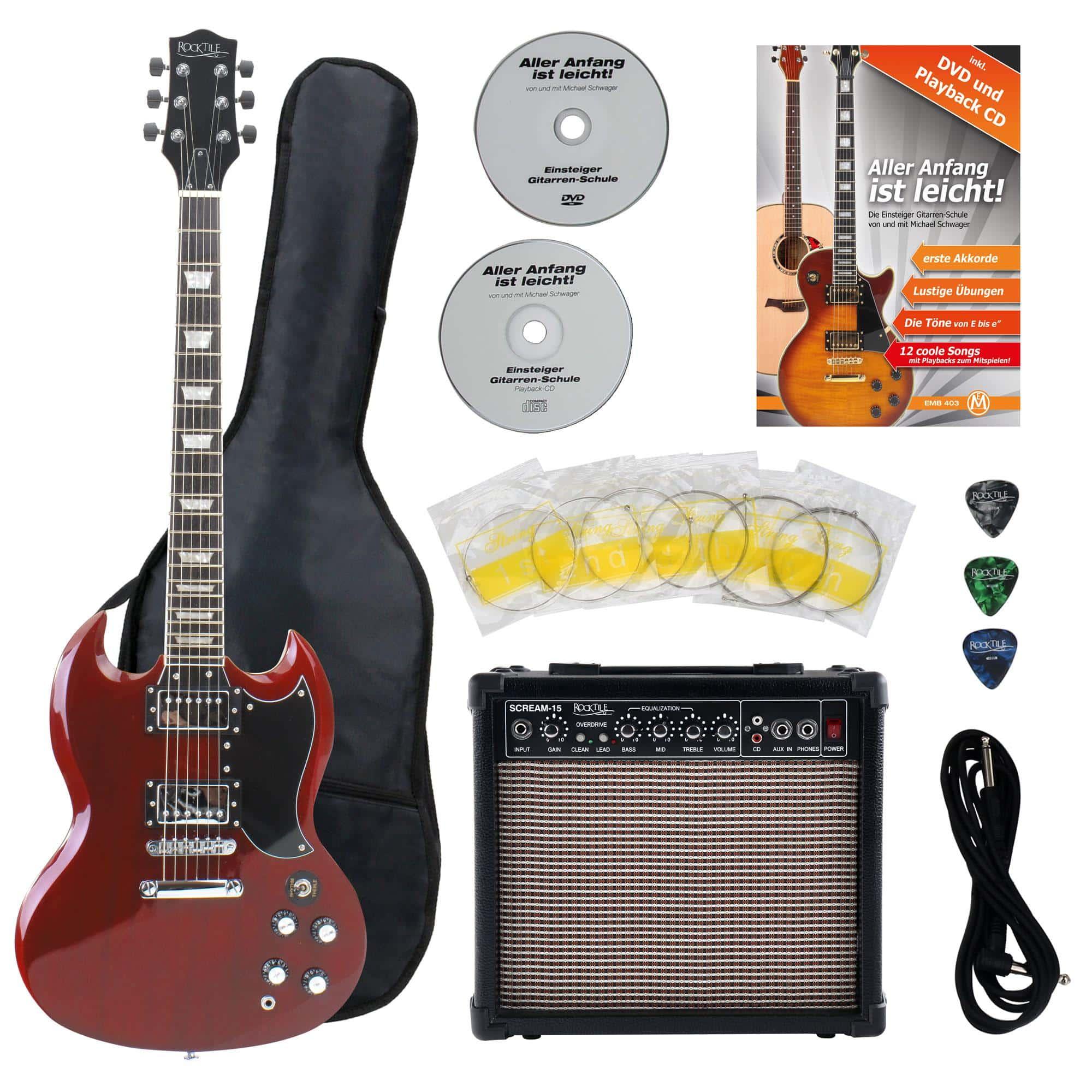 Rocktile Pro S Red E Gitarre Heritage Starter Set Zubehörset Amp