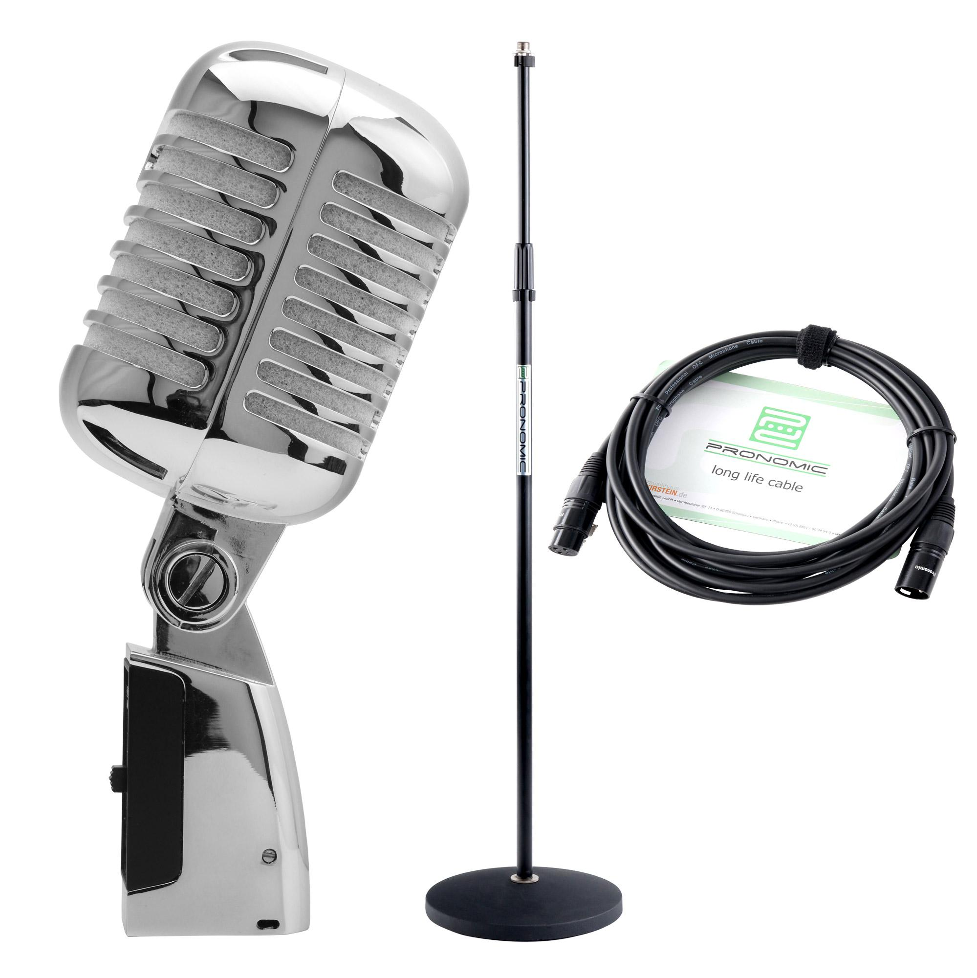 Pronomic DM 66S Elvis Mikrofon dynamisch silber SET