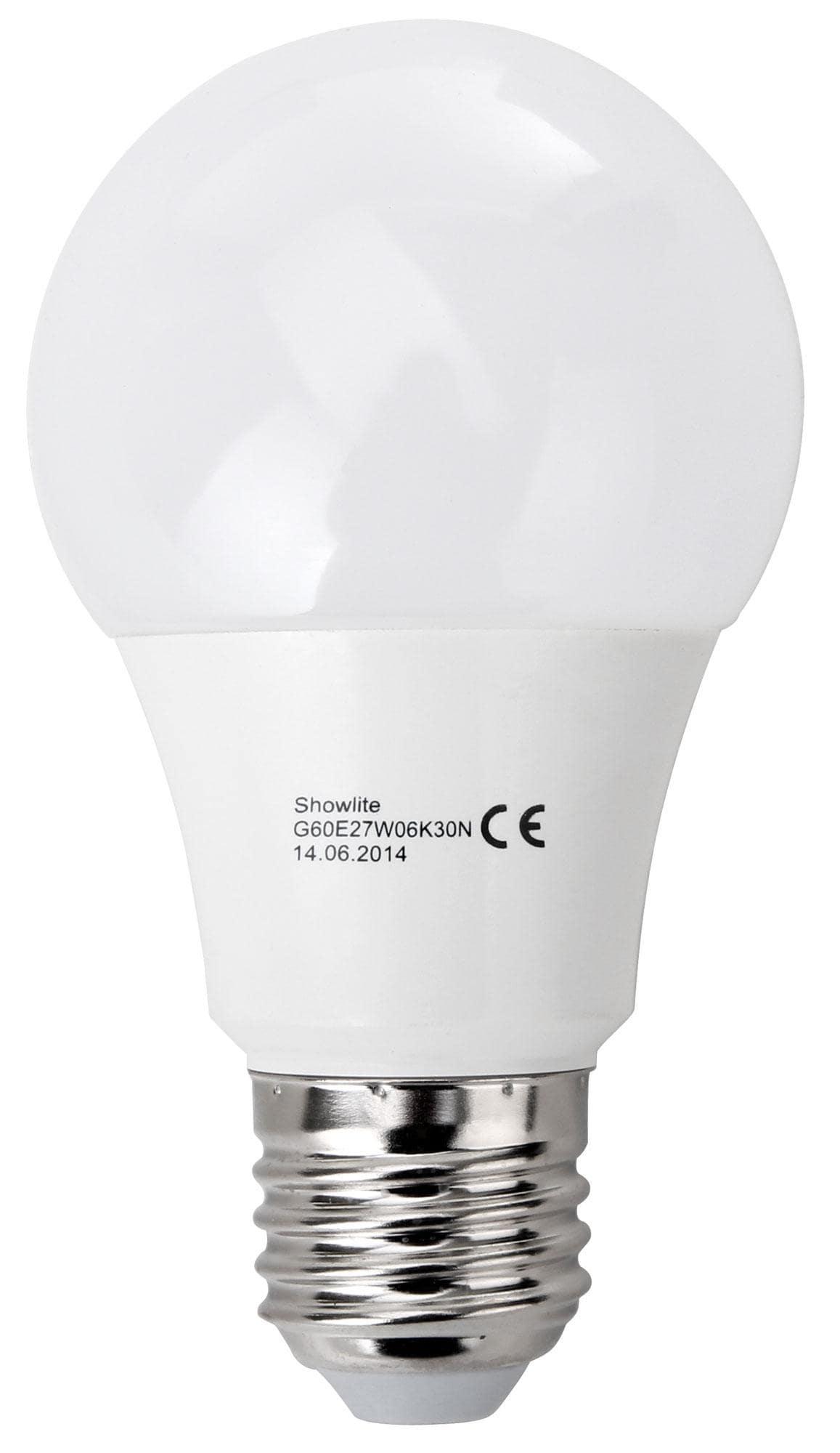 showlite led bulb g60e27w06k30n 6 watt 480 lumen e27 3000 kelvin. Black Bedroom Furniture Sets. Home Design Ideas