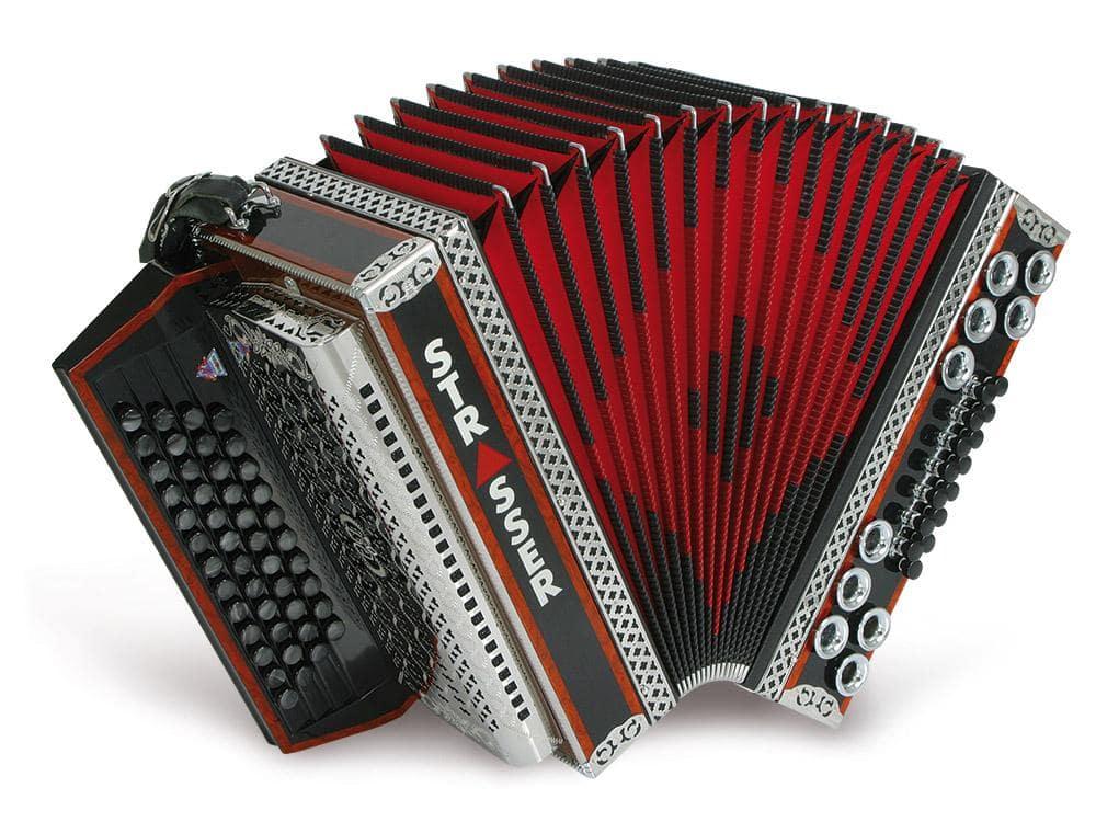 Akkordeons - Strasser 4|III De Luxe E Harmonika 4 reihig, 3 chörig G C F B mit X Bass, Schwarz|Rot - Onlineshop Musikhaus Kirstein