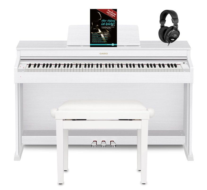 Casio Celviano AP 470 Digitalpiano, Weiß Set inkl. Pianobank, Kopfhörer Klavierschule