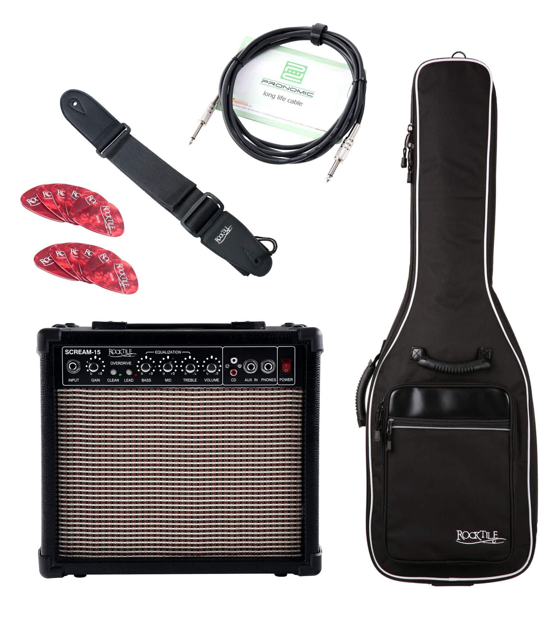 Zubehoergitarren - Rocktile E Gitarren Add On Komplettset light inkl. Amp, Tasche, Gurt, Kabel und Picks - Onlineshop Musikhaus Kirstein