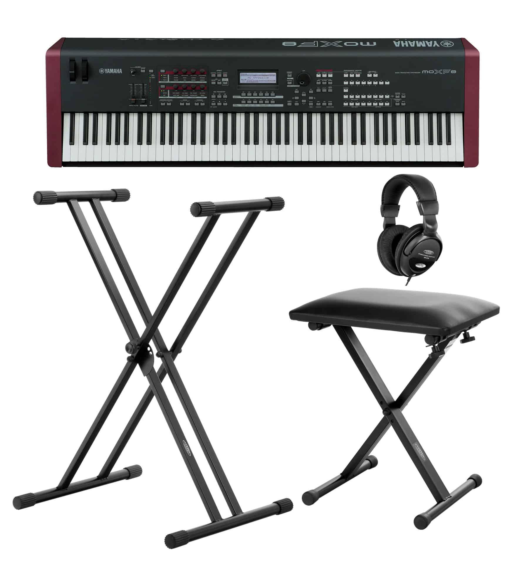 Yamaha MOX F8 Synthesizer im SET mit Ständer, Bank und Kopfhörern