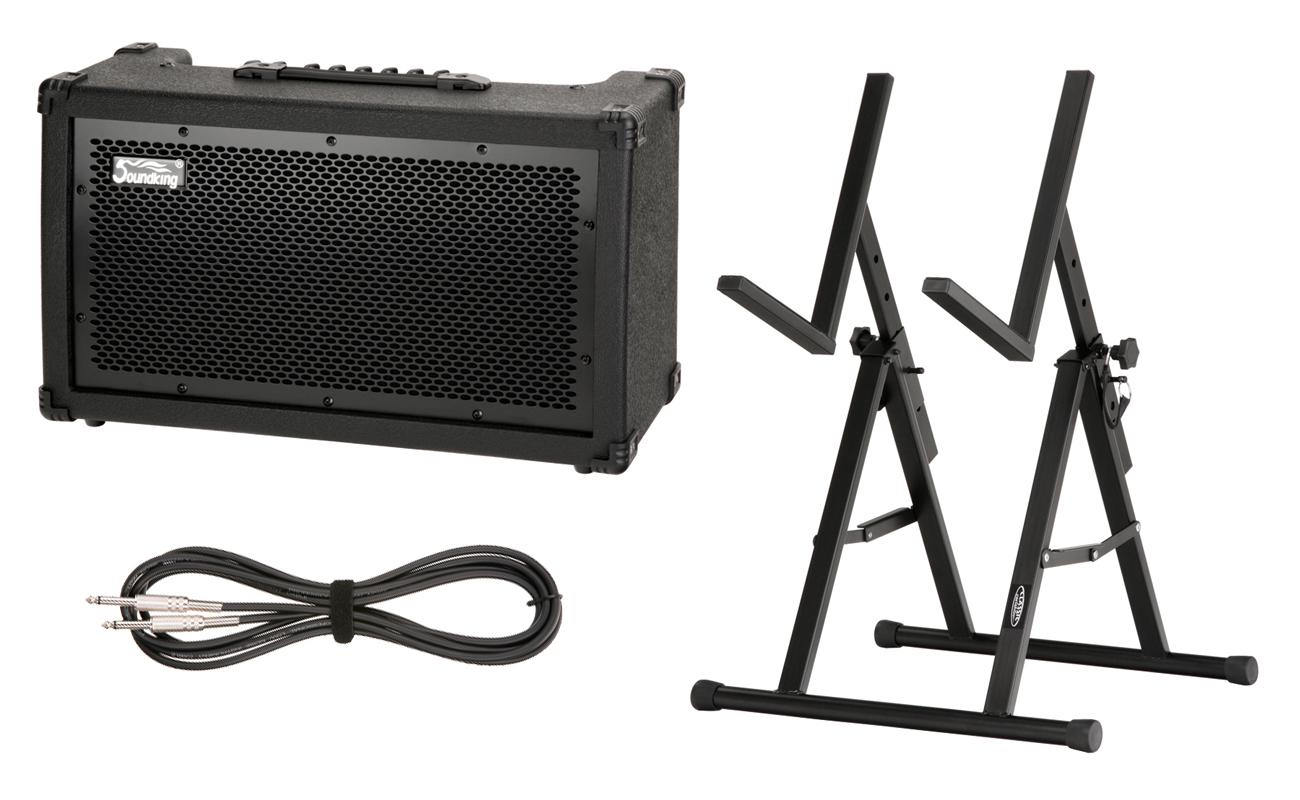 soundking gr40 2 channel guitar combo amp stand and 3 meter guitar cable. Black Bedroom Furniture Sets. Home Design Ideas