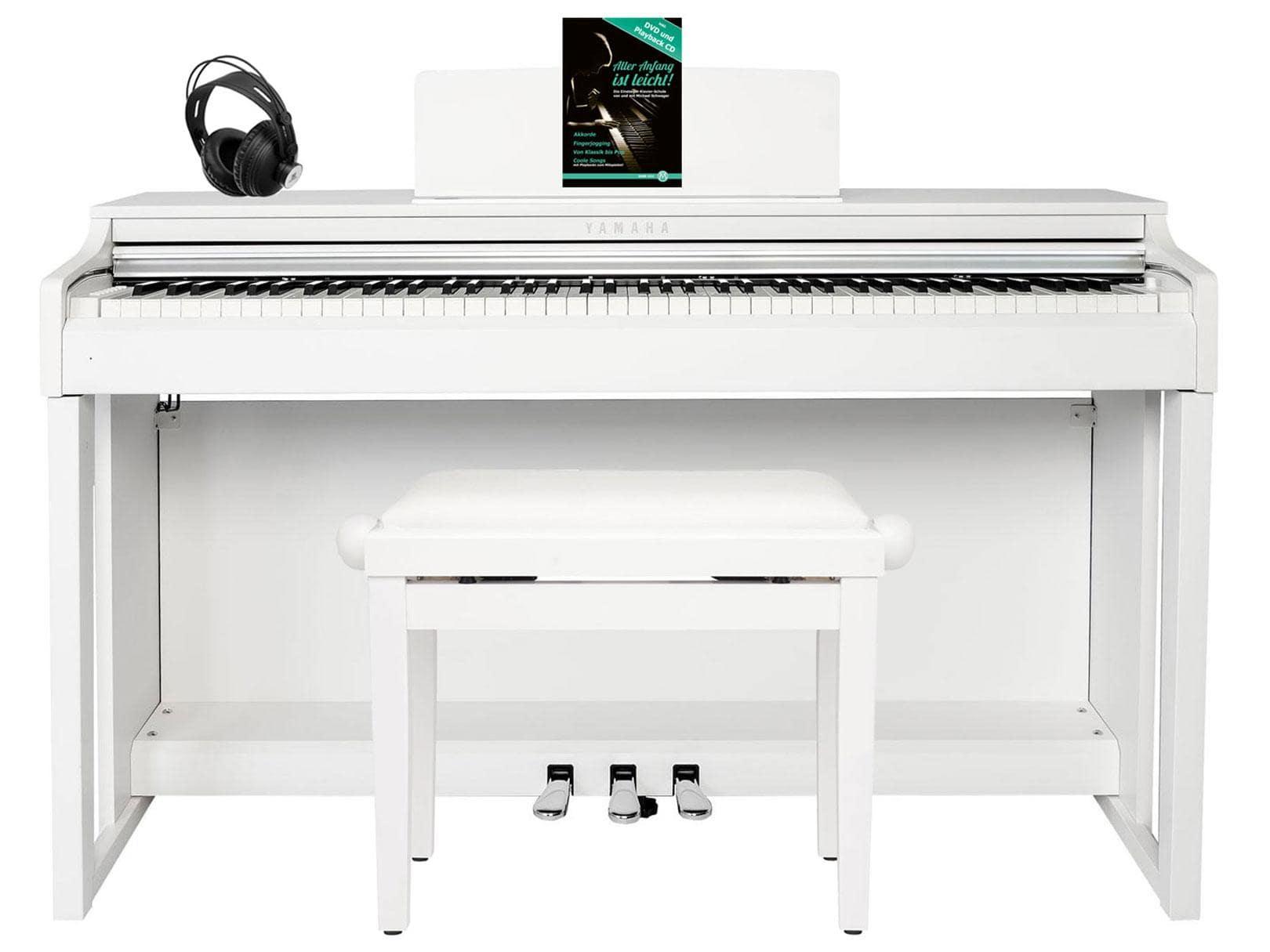 Yamaha CLP 625 WM Digitalpiano weiß matt SET mit Kopfhörer, Bank, Schule