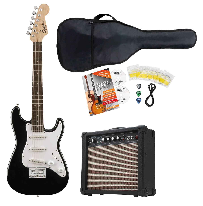Egitarren - Fender Squier Mini Strat V2 IL BLK E Gitarre Set - Onlineshop Musikhaus Kirstein