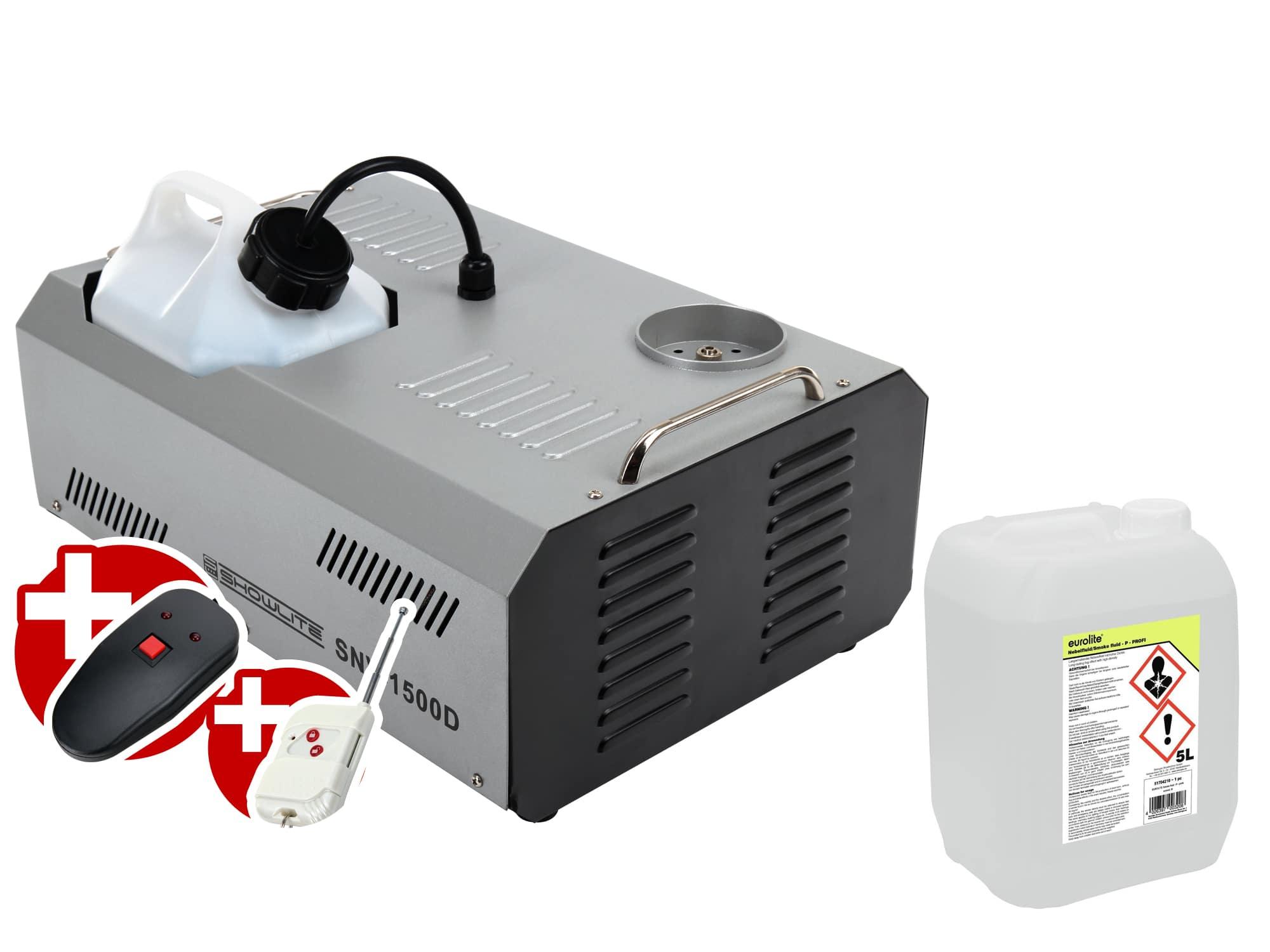 Komplettset Showlite SNV 1500D DMX Vertikal Nebelmaschine 1500W inkl. Fernbedienung 5 L Nebelfluid