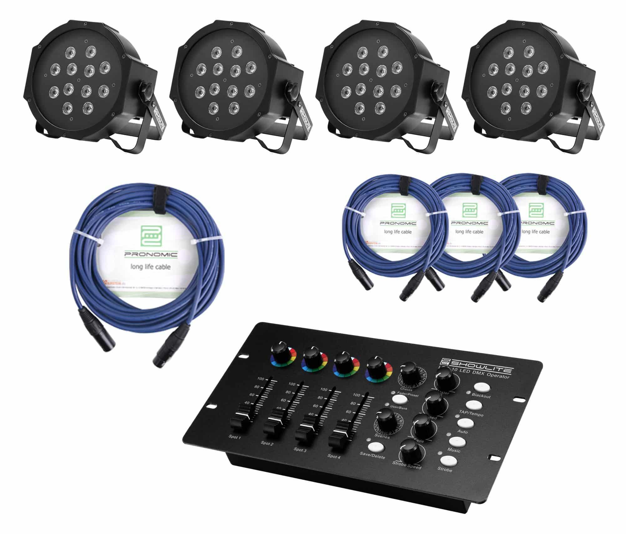 Showlite FLP 12x1W Scheinwerfer 4 x Set inkl. DMX Controller Kabel